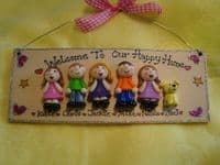 6 character 3d Family Sign Handmade Personalised Plaque Customised Unique Gift Welcome